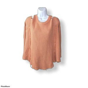 Free People Cold Shoulder Waffle Top Size Small